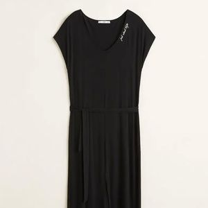 Black belted midi dress